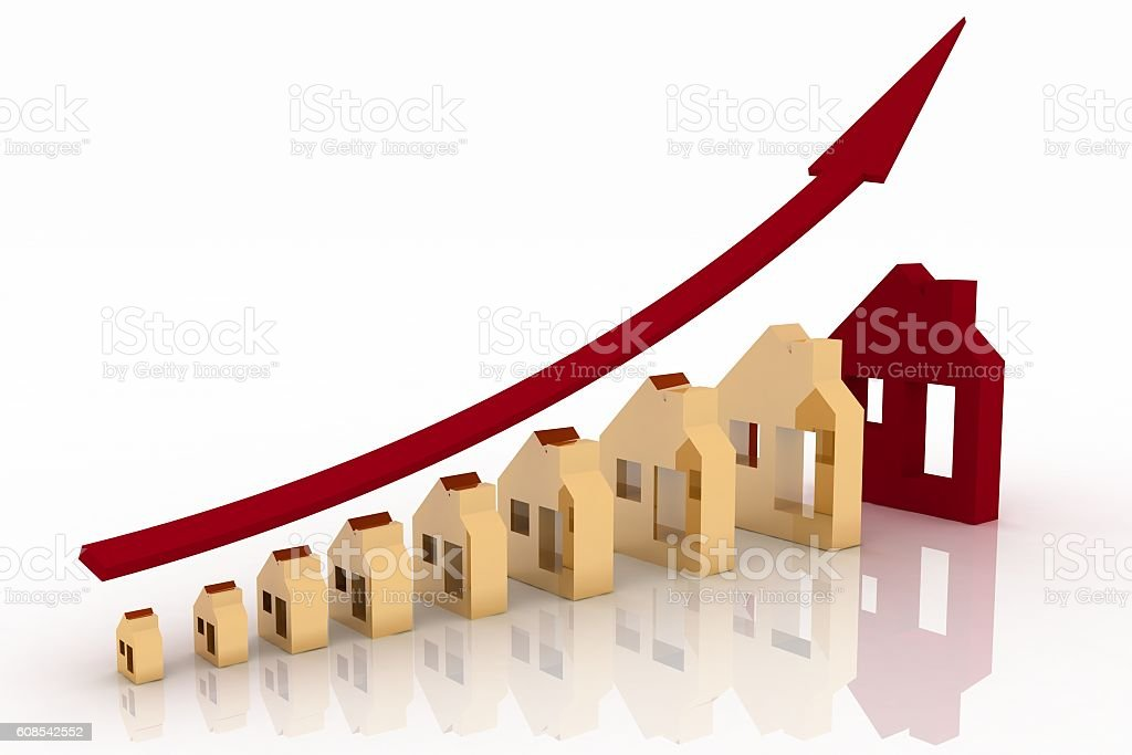 Growth in real estate shown on graph stock photo