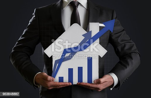 istock Growth in real estate shown on graph 953848882