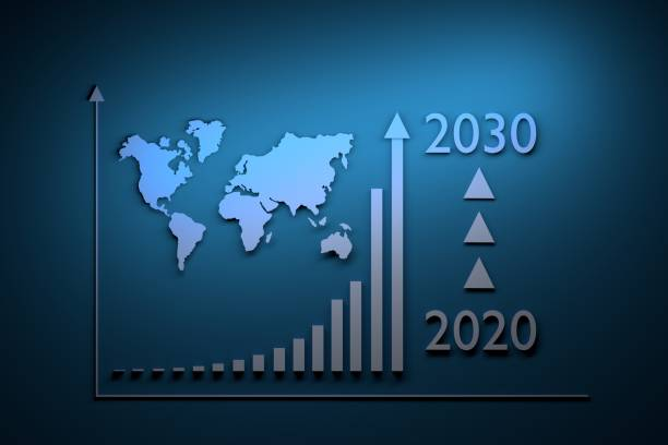 Growth infographics from 2020 to 2030 stock photo