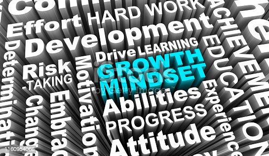 Growth Mindset Learning Improvement Word Collage 3d Illustration