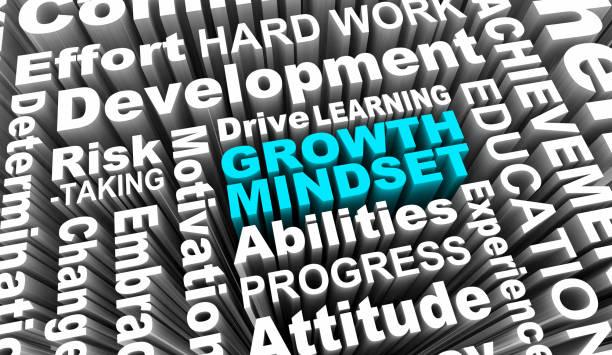 growth mindset learning improvement word collage 3d illustration - postawa zdjęcia i obrazy z banku zdjęć