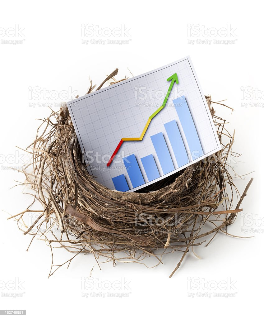 Growth. Nest with graph royalty-free stock photo