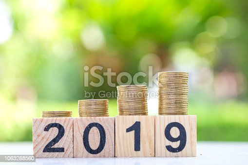 Growth of coins stack on wood blocks number 2019. 2019 NEW YEAR Business and saving money concept.