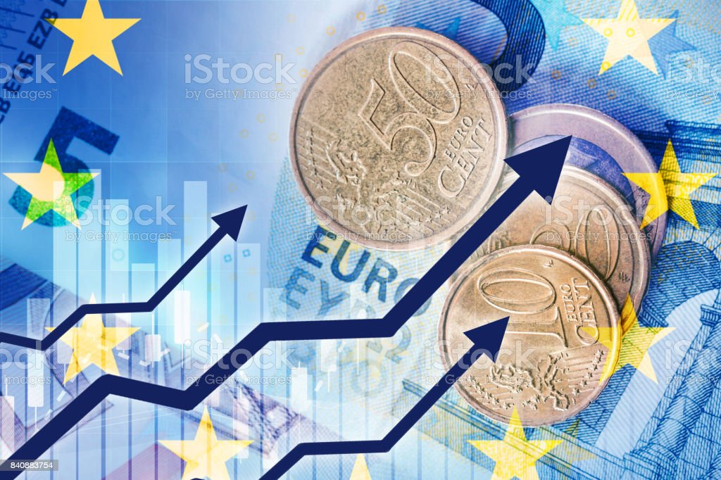 growth of euro currency stock photo