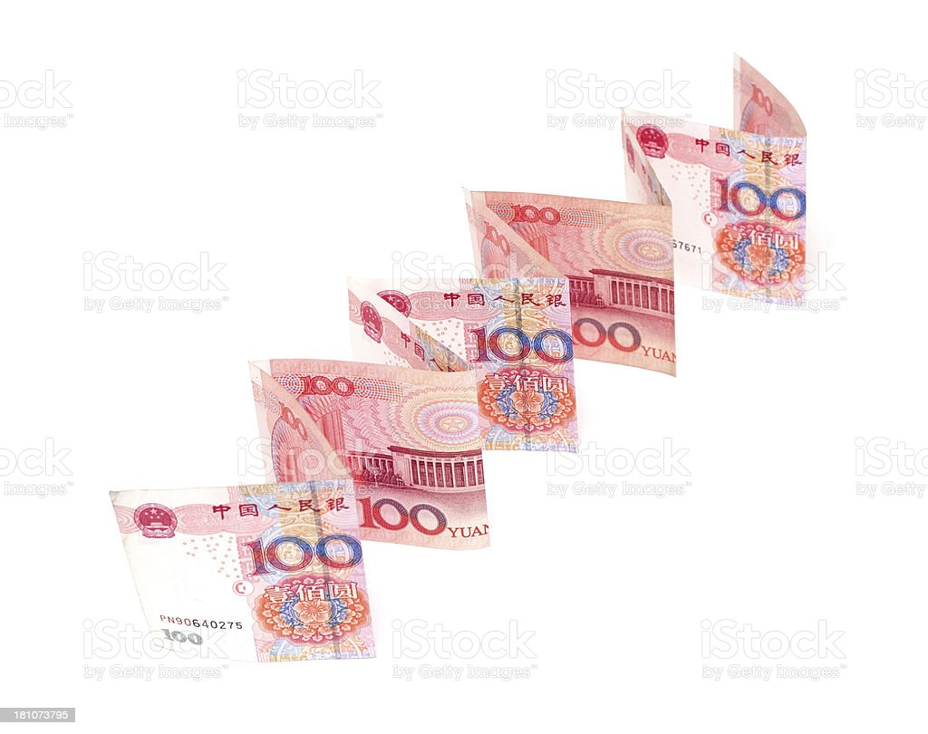 Growth of the Renminbi isolated on white background royalty-free stock photo