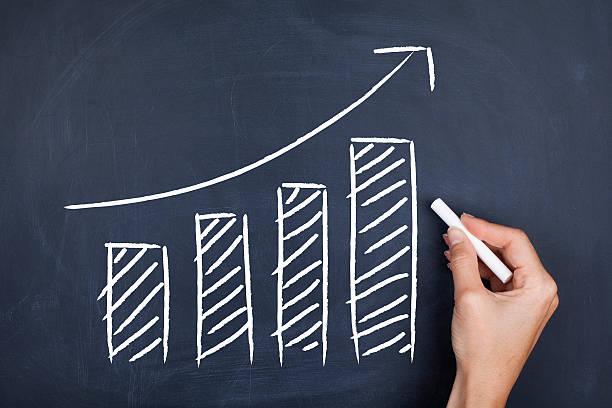 la crescita - diagramma a colonne foto e immagini stock