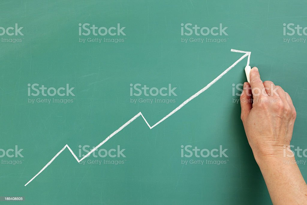 Growth: Positive Chart or Line Graph Chalk Drawing stock photo