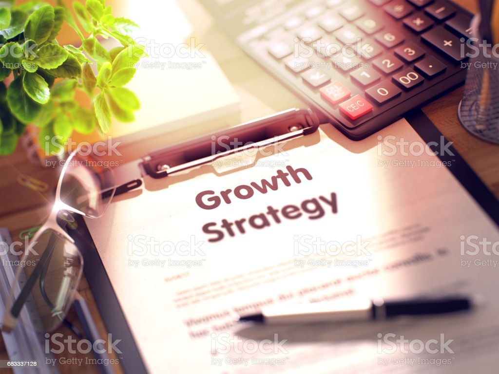 Growth Strategy on Clipboard. 3D royalty-free stock photo