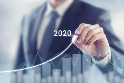 istock Growth success in 2020 concept. Businessman plan and increase of positive indicators in his business. 1150335759