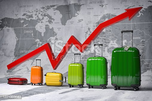 istock Growth travel and tourism industry. Graph and diagram from suitcases on the map of world. 1221003583