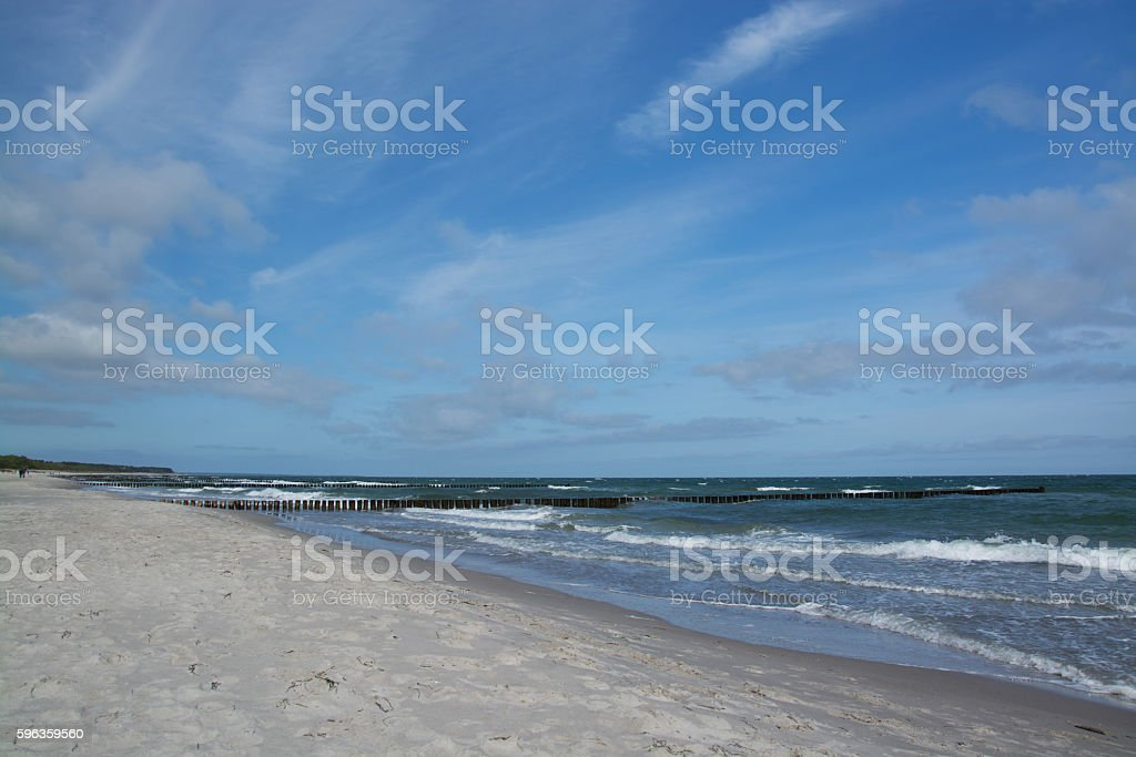Groyne in Zingst, Darss, Germany royalty-free stock photo