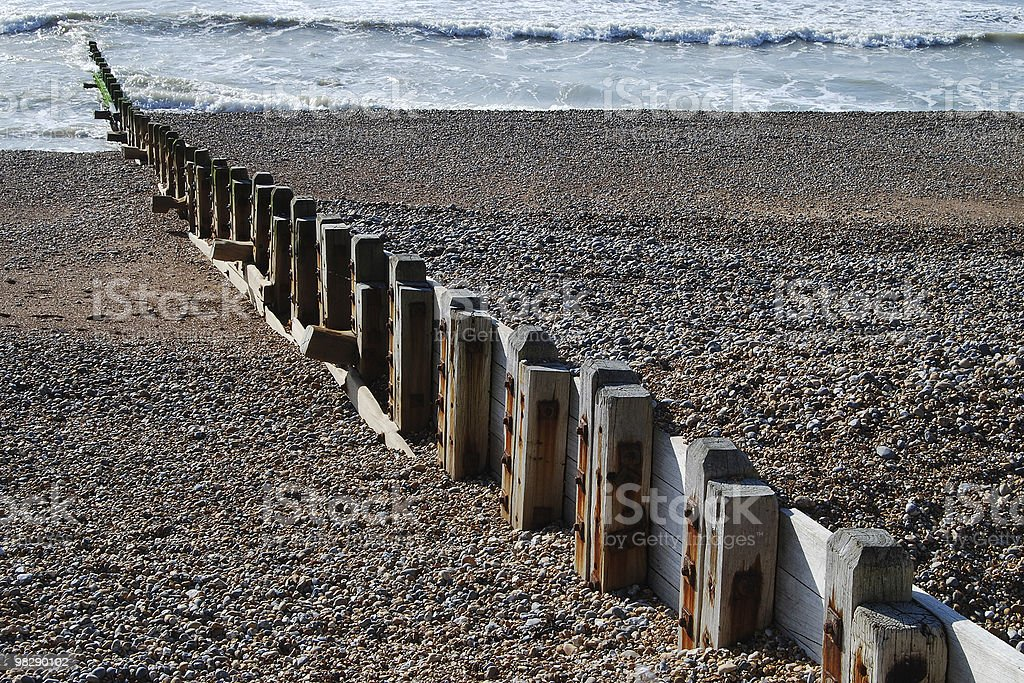 Groyne on Brighton Beach. East Sussex. England royalty-free stock photo