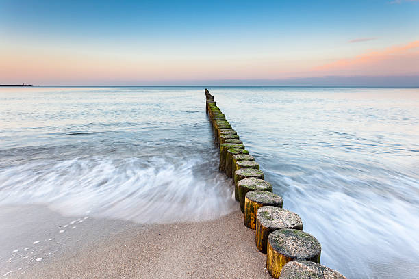 Buhnen am Ostseestrand groynes on the baltic sea groyne stock pictures, royalty-free photos & images