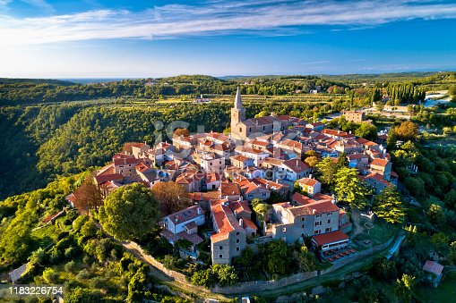 Groznjan. Ancient hill village of Groznjan aerial panoramic view, artist colony in Istria region of Croatia