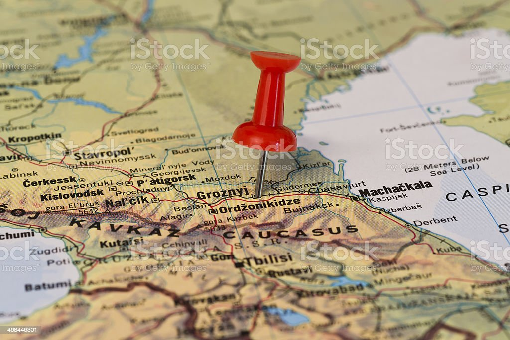 Grozny Marked With Red Pushpin on Map stock photo