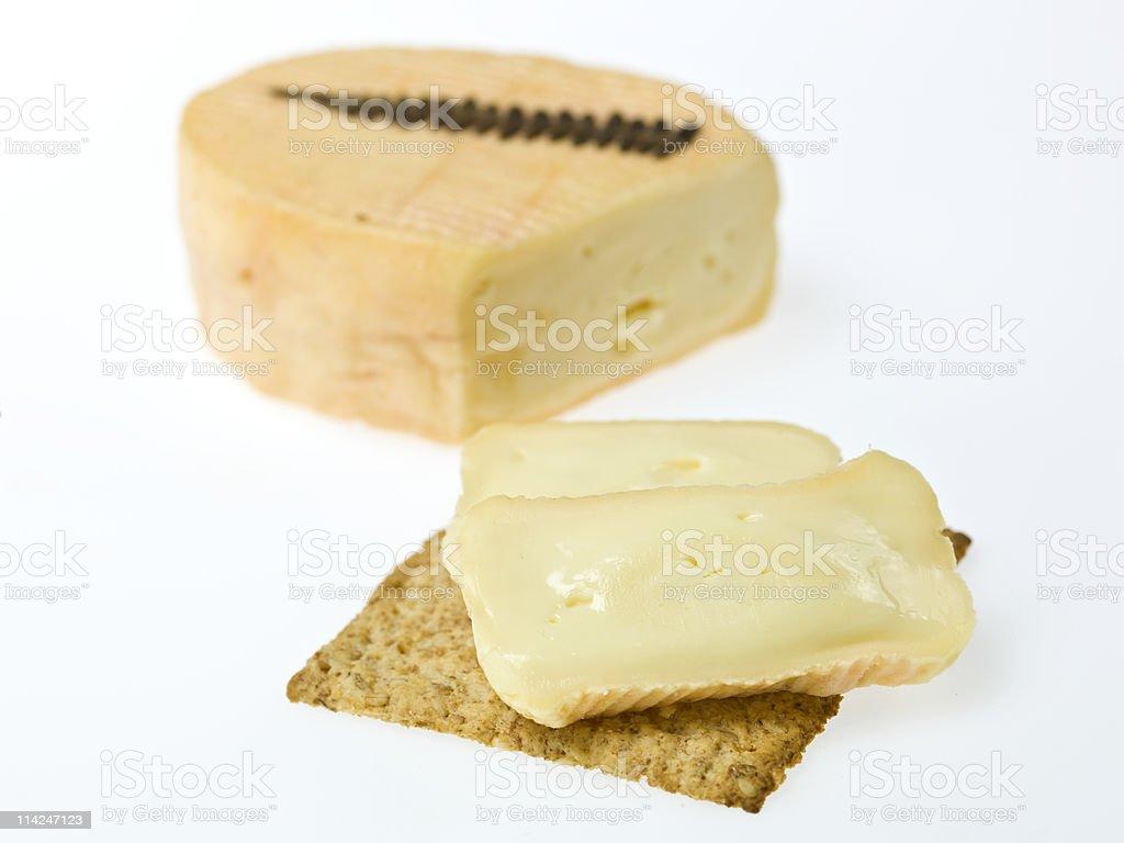Grès des Vosges Cheese canape stock photo