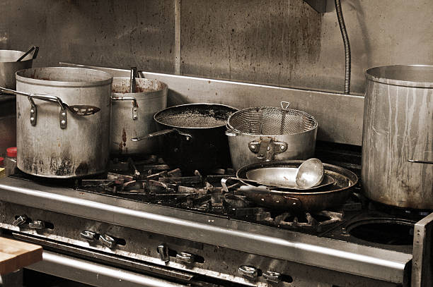 Grubby kitchen stock photo