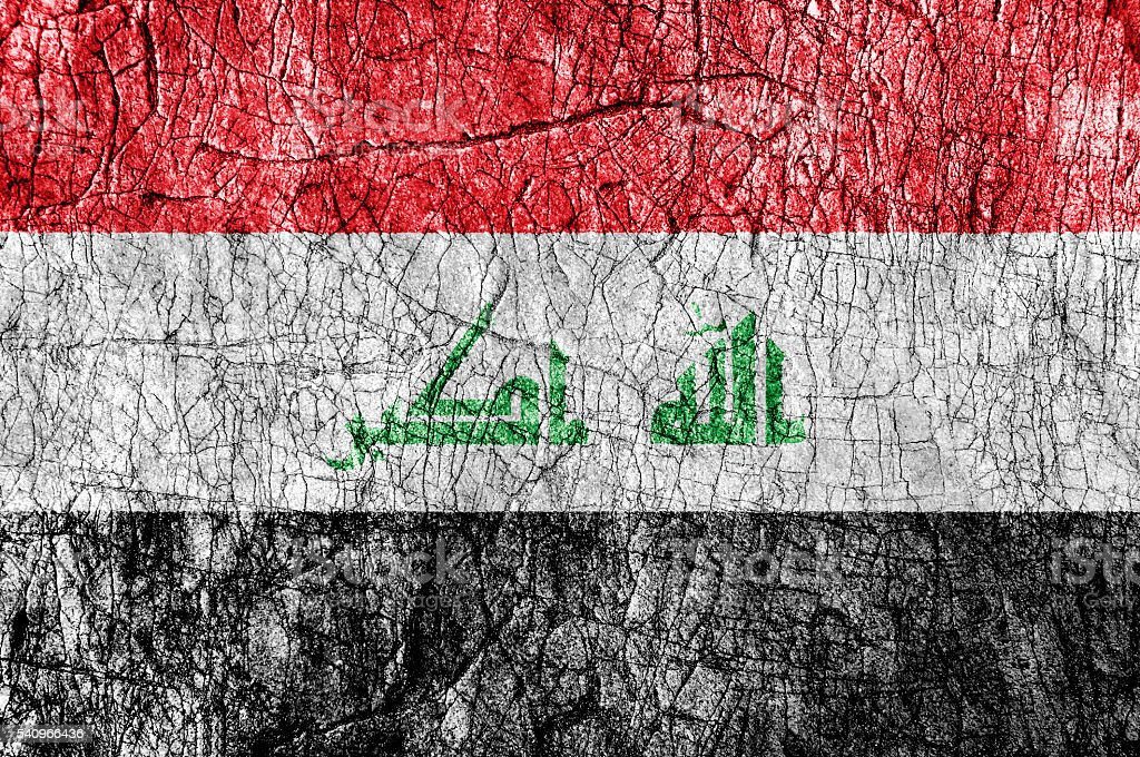 Grudge stone painted Iraq flag - foto de acervo