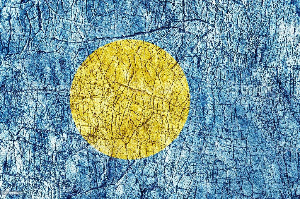 Grudge stone painted Palau flag stock photo