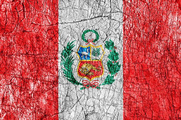 Grudge stone painted Peru flag stock photo