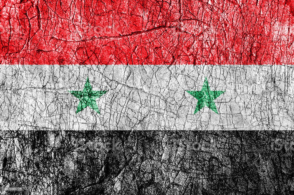 Grudge stone painted Syria flag - foto de stock