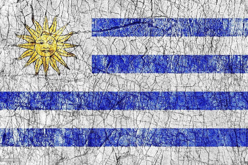 Grudge stone painted Uruguay flag stock photo