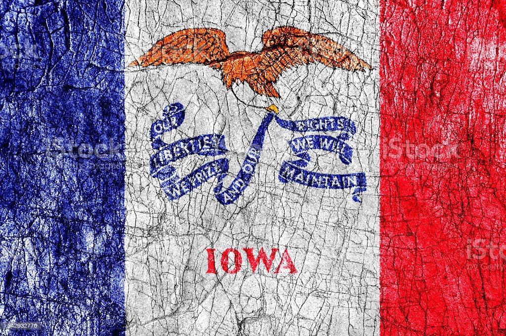 Grudge stone painted US Iowa flag stock photo