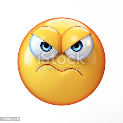 Grumpy emoji isolated on white background, frowned emoticon 3d rendering