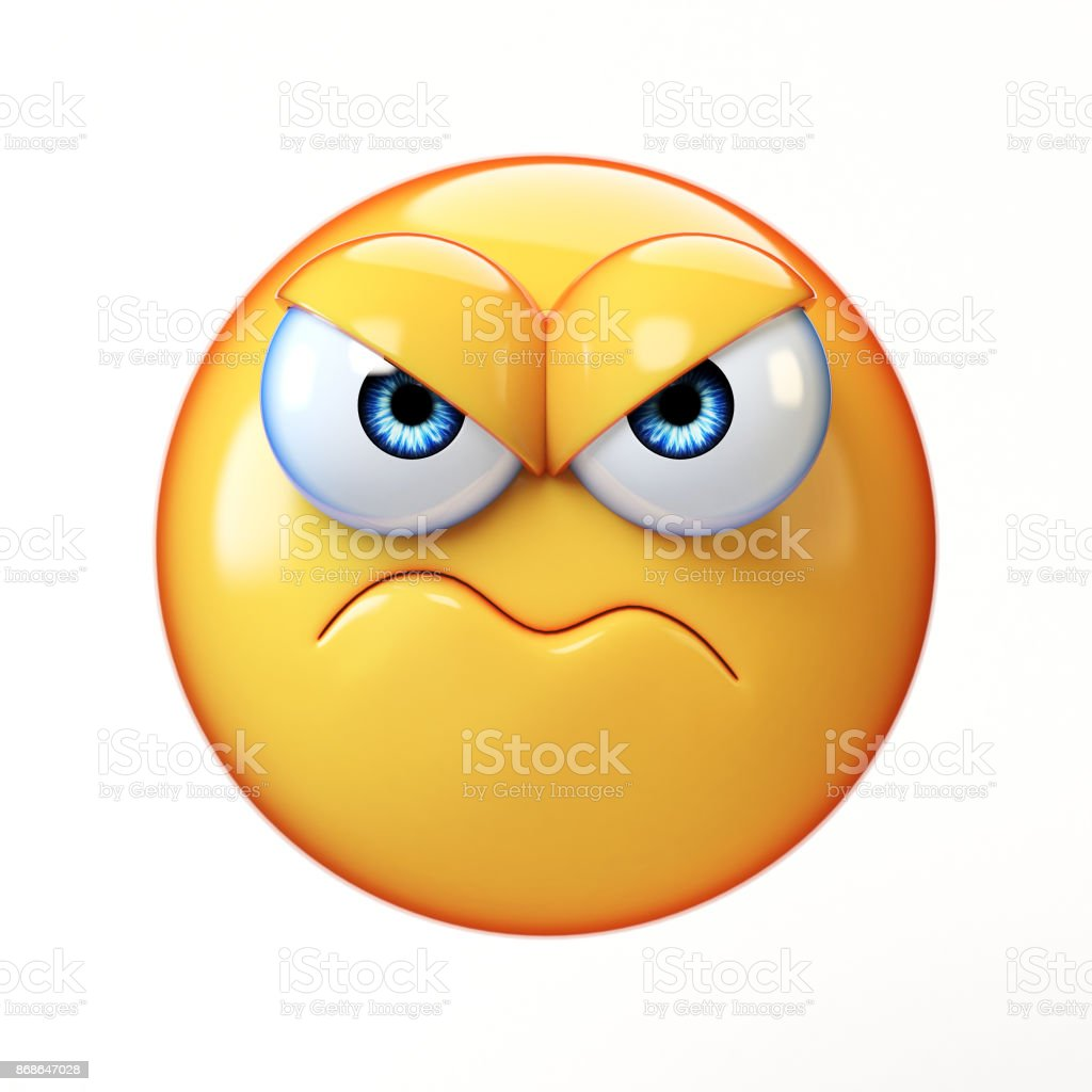 Grumpy emoji isolated on white background, frowned emoticon 3d rendering stock photo