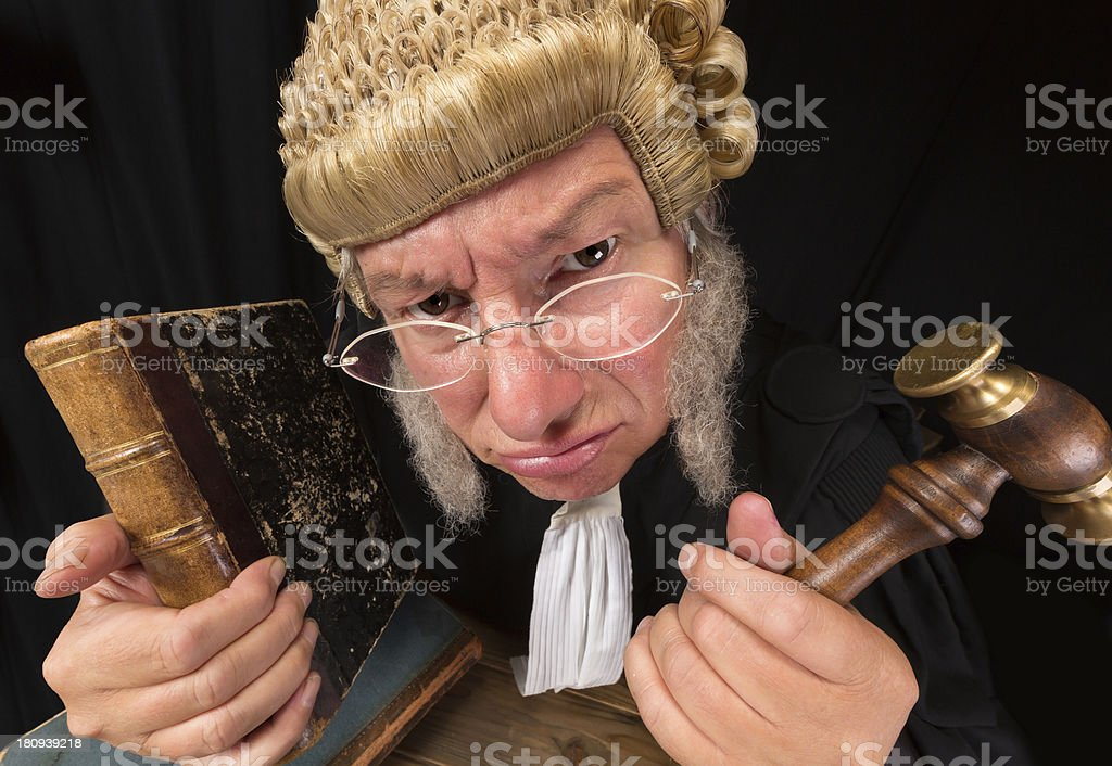 Grumpy judge stock photo