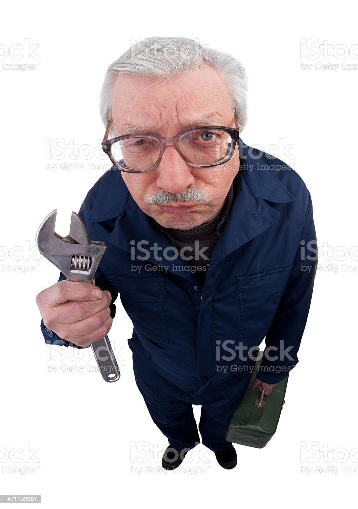 Grumpy Maintenance Man royalty-free stock photo