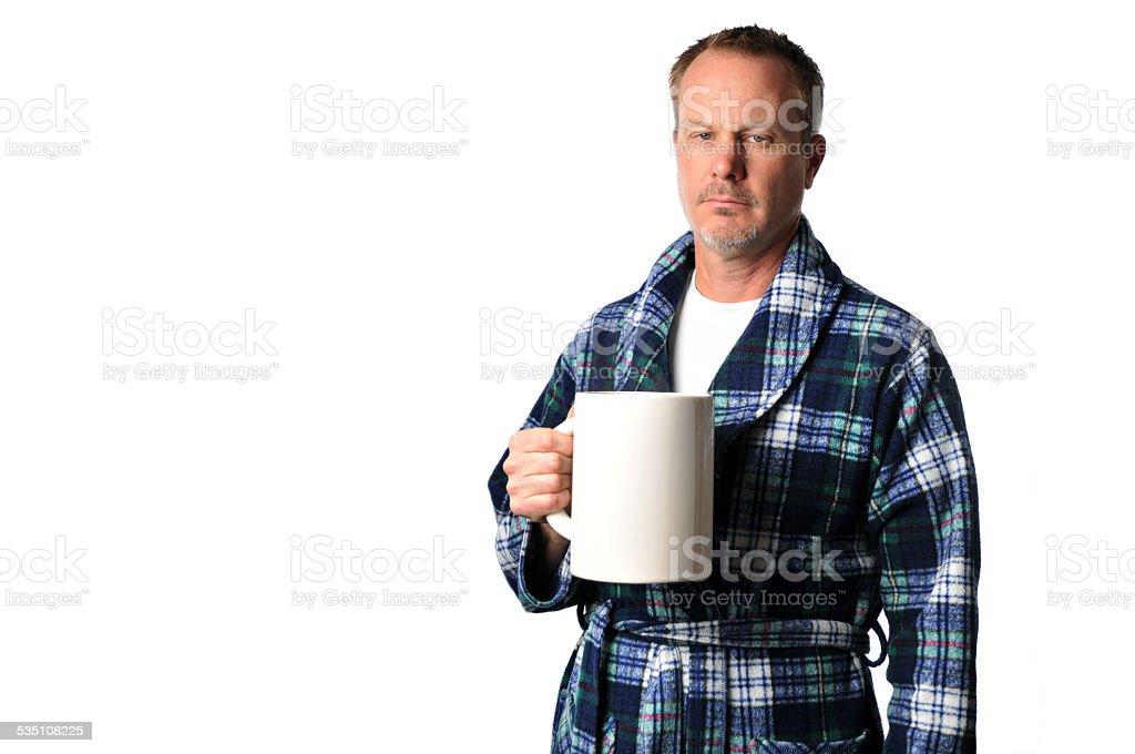 Vestaglia Da Camera Uomo : Intrattabile uomo in vestaglia con il gigante tazza di caffè
