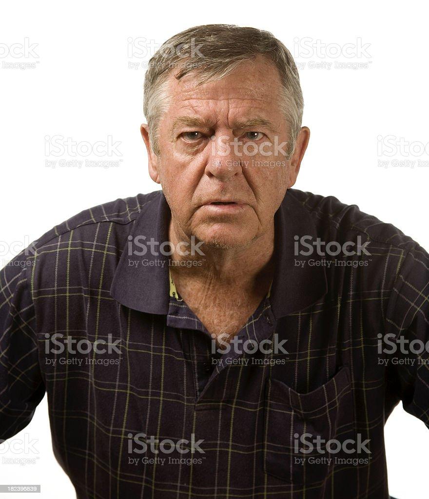 Grumpy mature male royalty-free stock photo