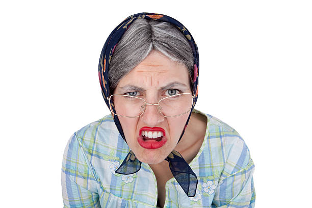 Grumpy Old Lady stock photo