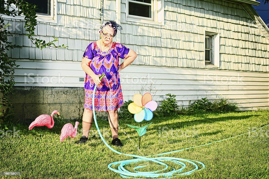 Grumpy old lady watering lawn beside tacky decorations stock photo