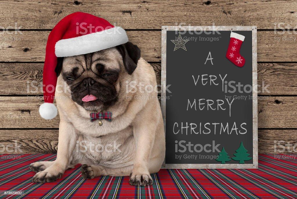 chagrijnig pug puppy hondje met rode kerstmuts zat naast schoolbord teken met tekst zeer vrolijke Kerstmis, op houten achtergrond foto