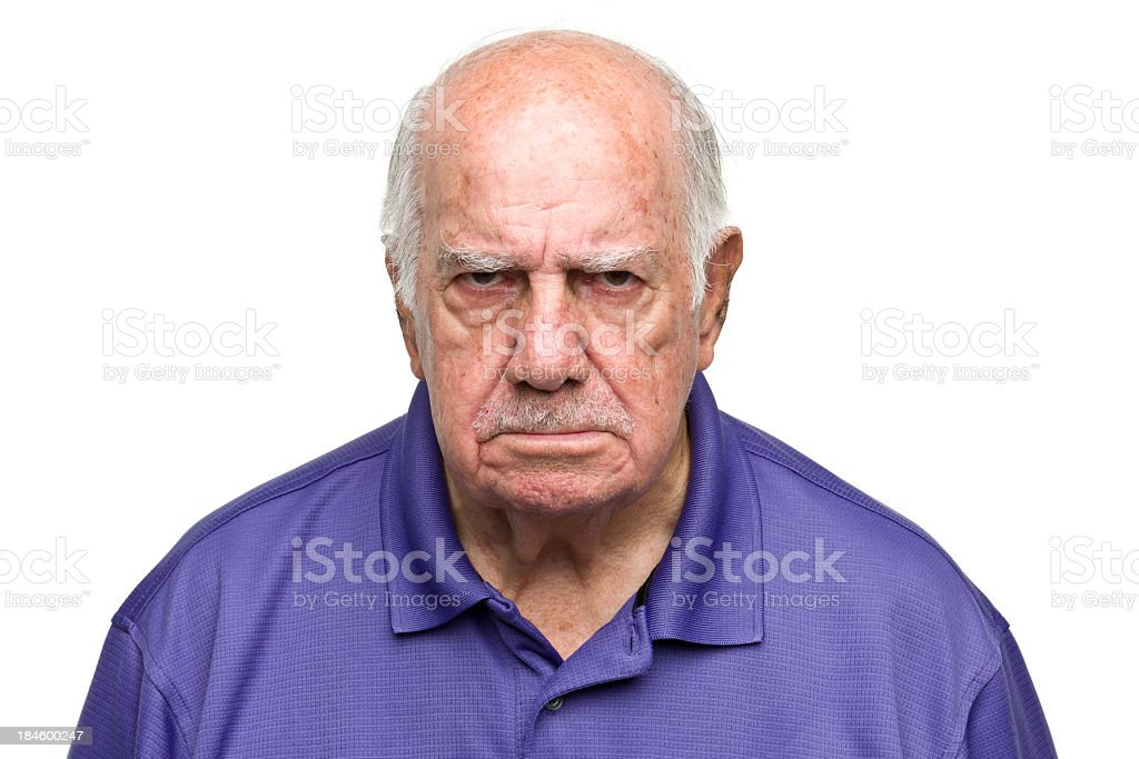 Grumpy Senior Man stock photo