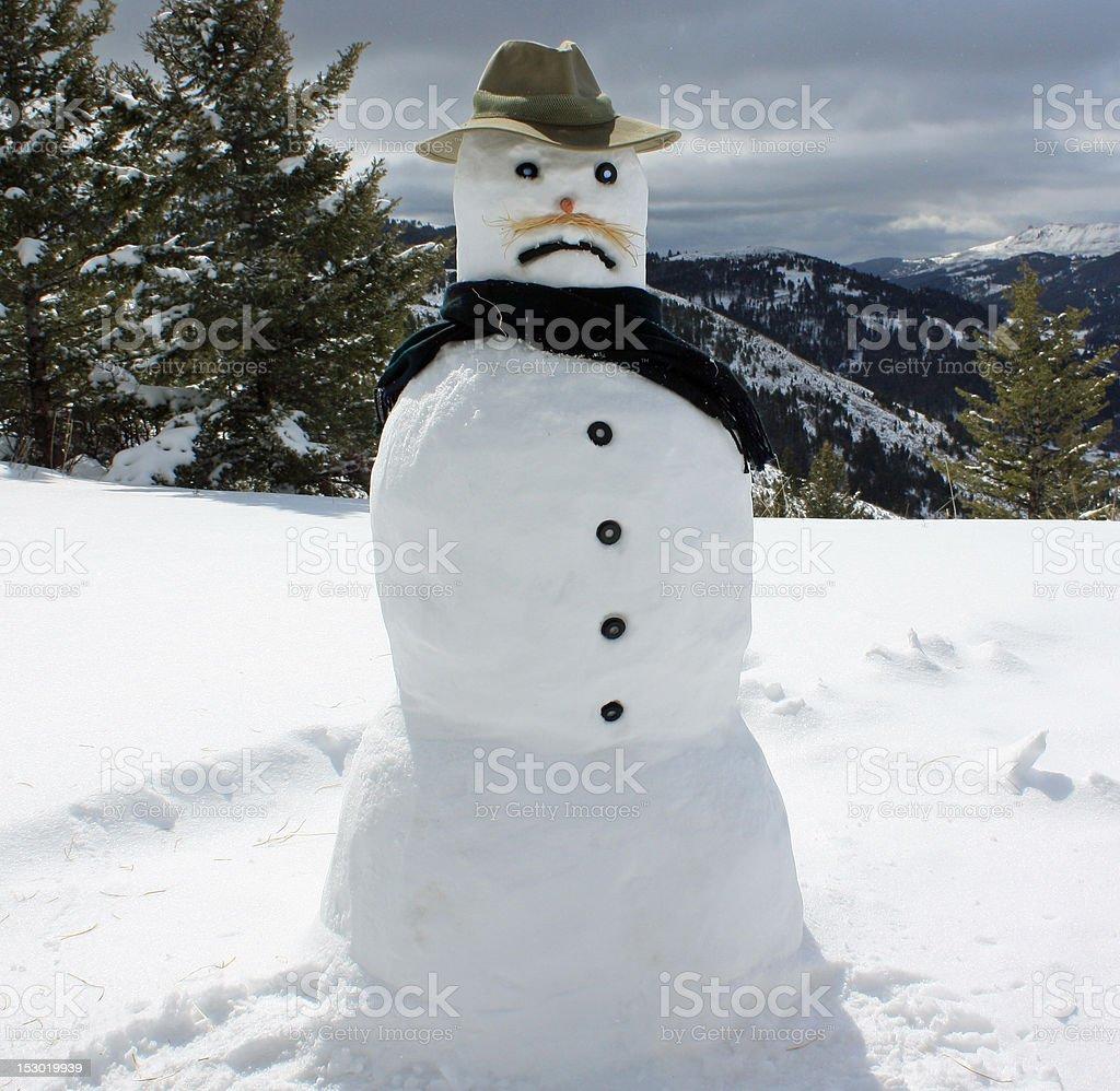Grumpy Snowman stock photo