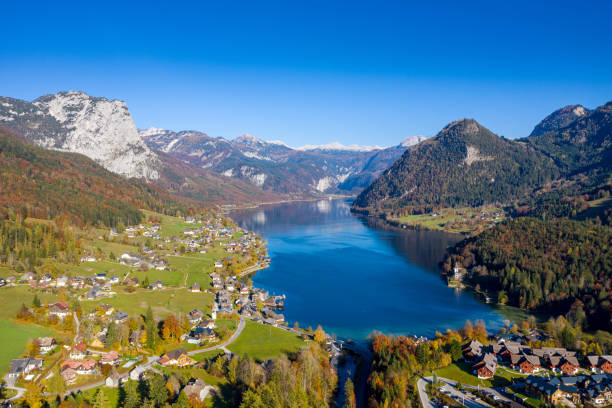 Grundlsee in the famous Salzkammergut in Austria stock photo