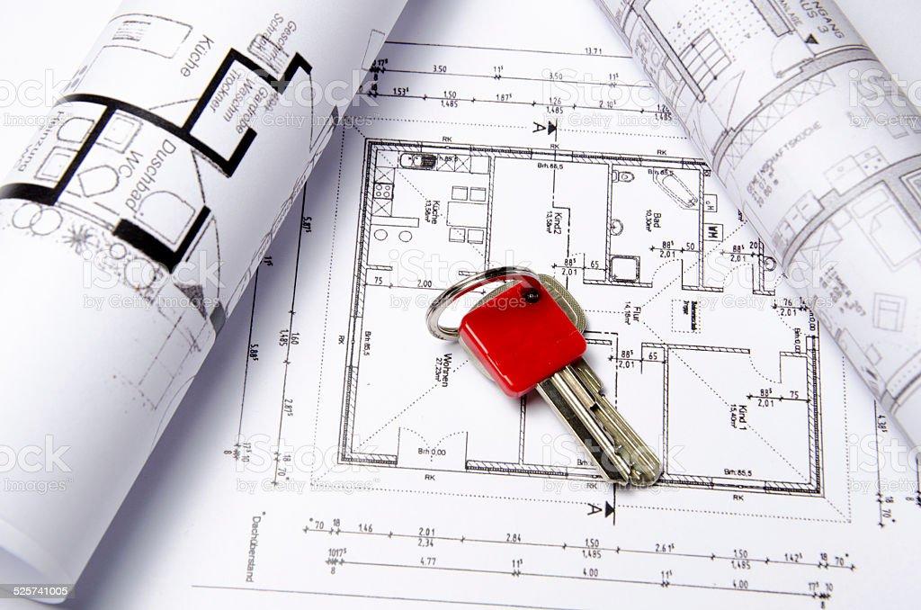 Grundrisszeichnung Haus mit Schlüssel stock photo