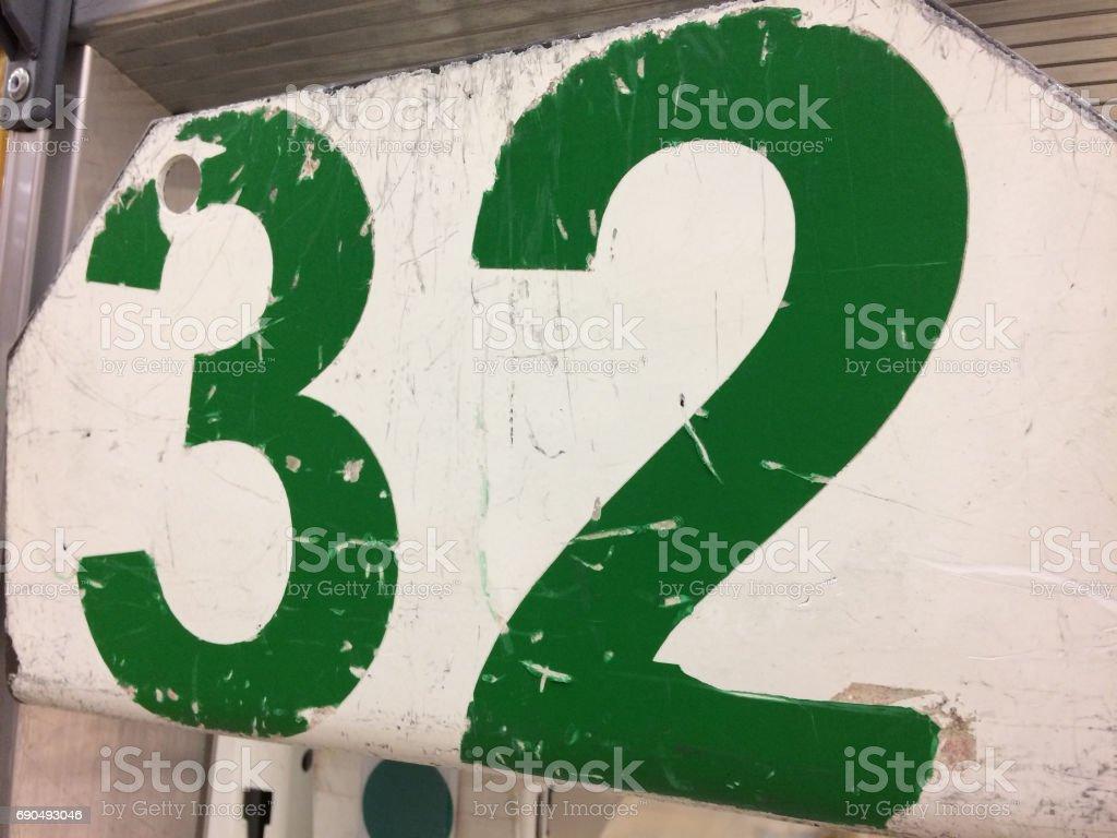 Grunge 32 numbers. stock photo