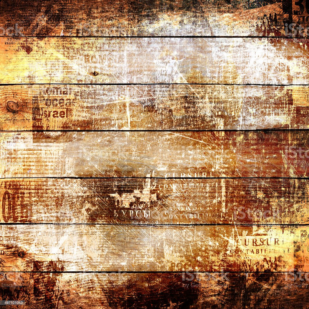 grunge abstract newspaper background for design with old torn stock