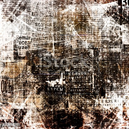 istock Grunge abstract newspaper background for design with  torn  posters 532316211