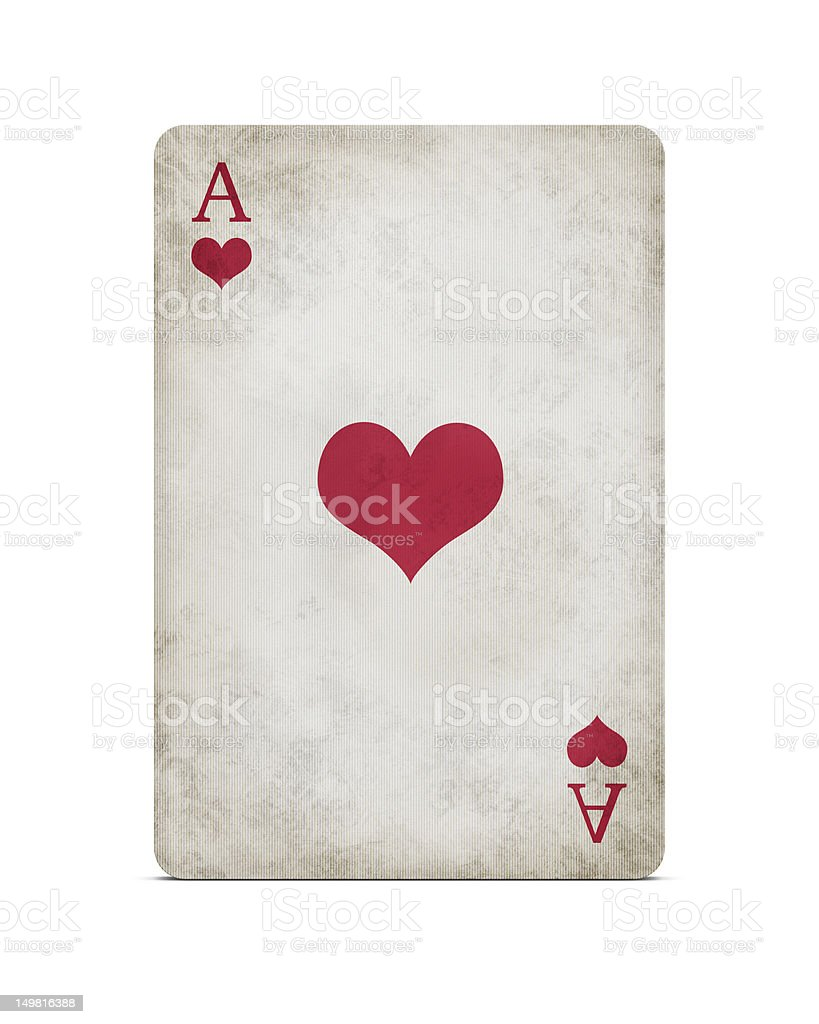 Grunge ace of hearts with clipping path stock photo