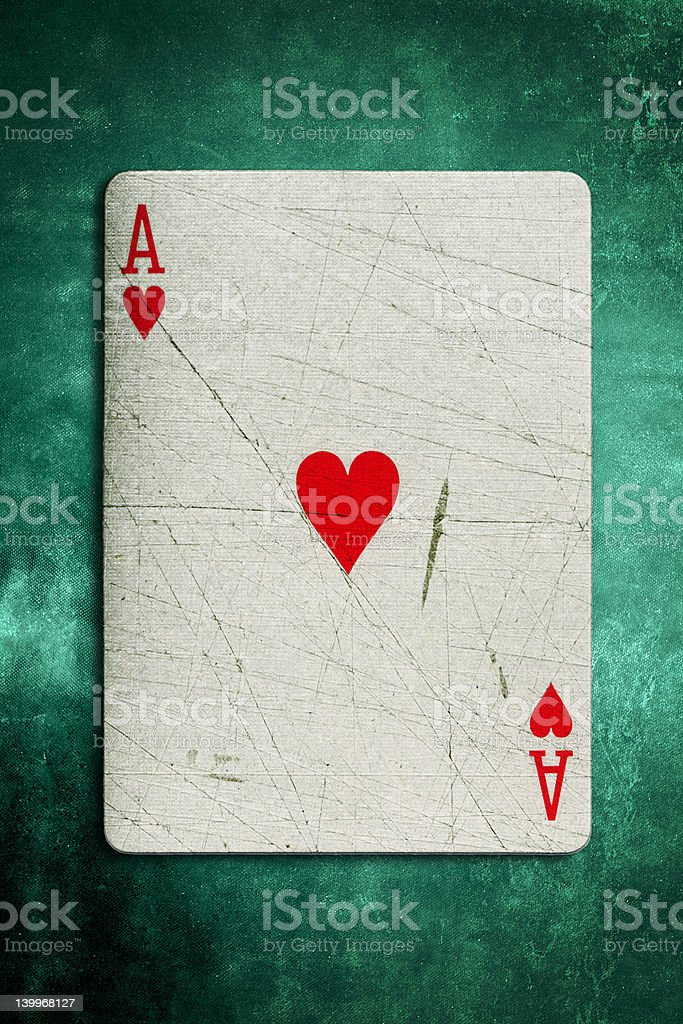 Grunge Ace Playing Card stock photo