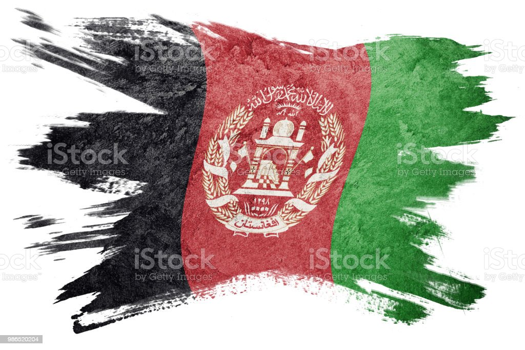 Grunge Afghanistan flag. Afghanistan flag with grunge texture. Brush stroke. stock photo
