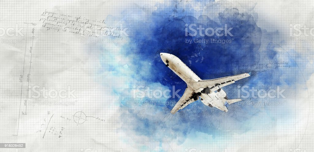 Grunge Airplane in the Sky stock photo