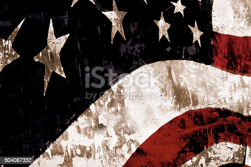 istock Grunge American flag with textured overlay. Patriotism. 504067332