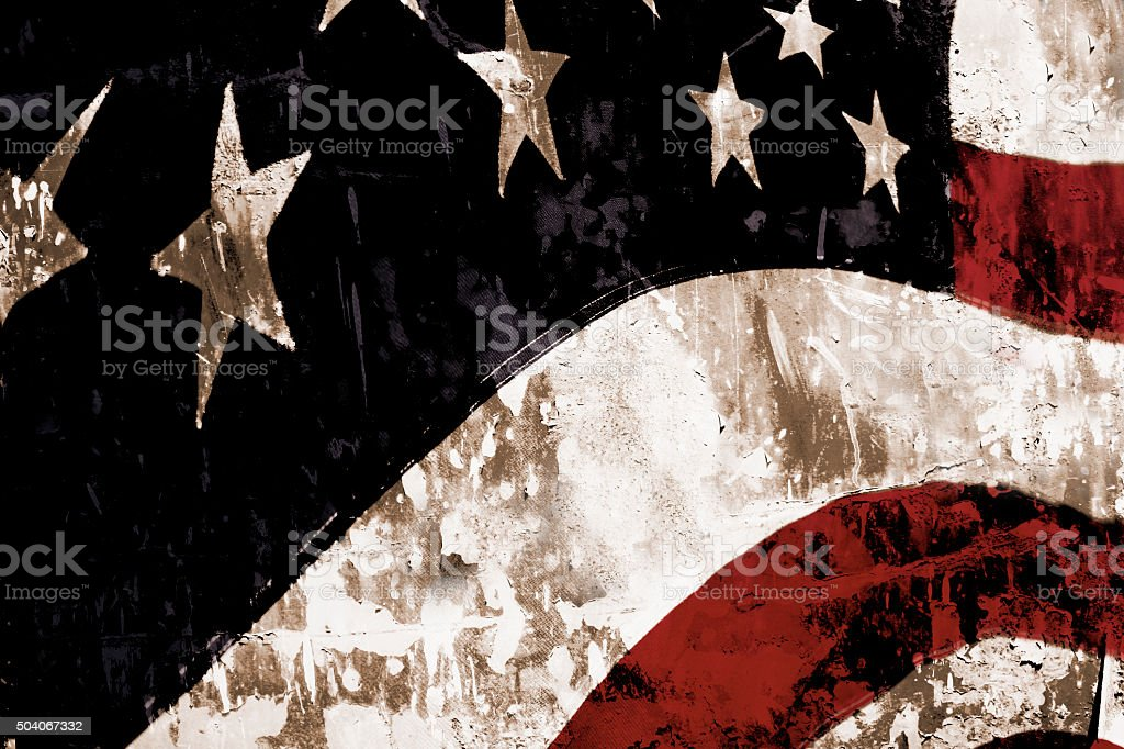 Grunge American flag with textured overlay. Patriotism. stock photo
