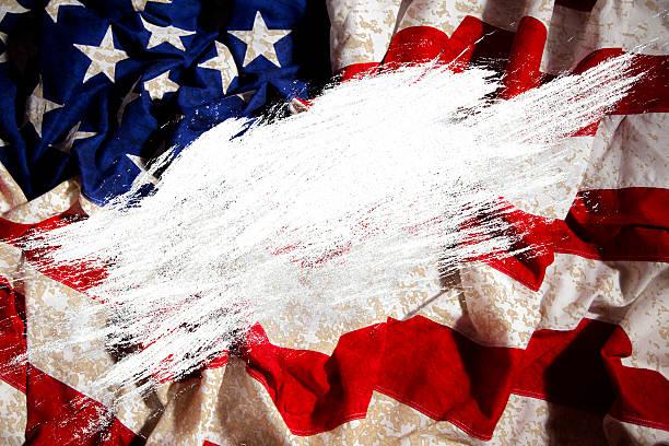 Grunge amerikanische Flagge mit weißen Raum-overlay.  Copyspace.  Patriotismus. – Foto